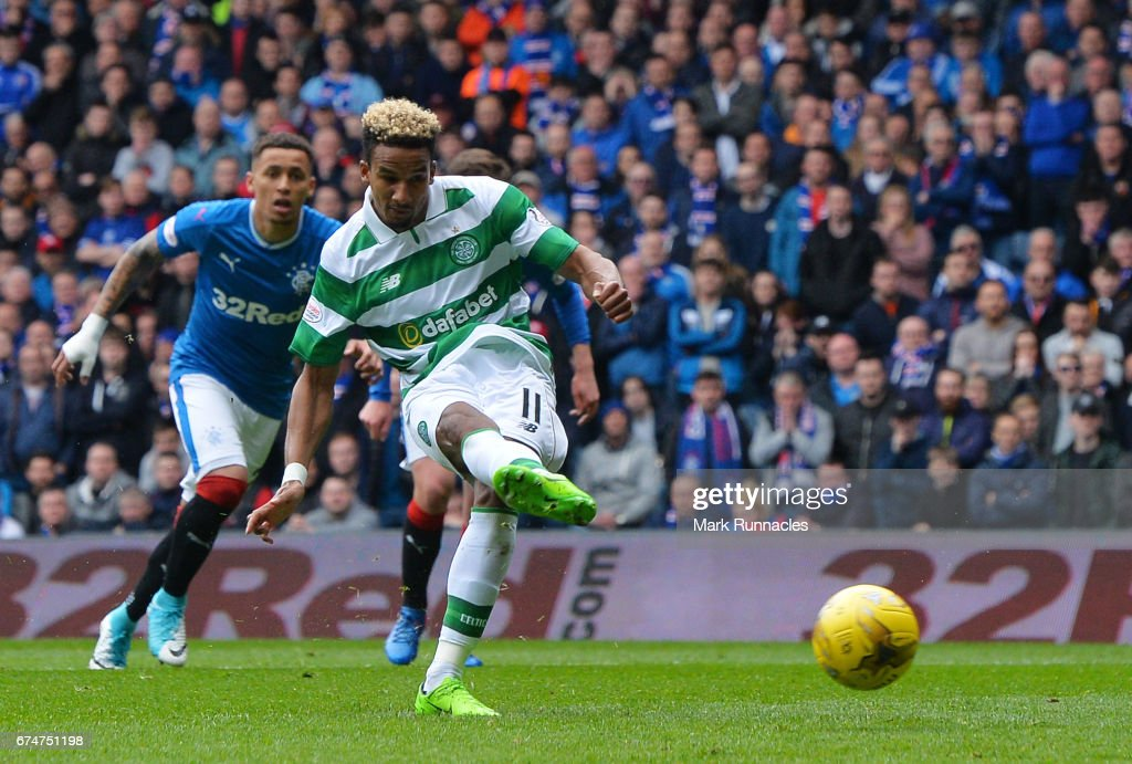 Scott Sinclair of Celtic scores the opening goal from the penalty spot during the Ladbrokes Scottish Premiership match between Rangers and Celtic at Ibrox Stadium on April 29, 2017 in Glasgow, Scotland.
