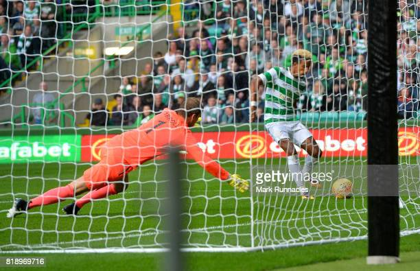 Scott Sinclair of Celtic scores the opening goal of the game in the first half during the UEFA Champions League Qualifying Second Round Second Leg...