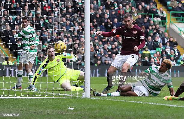 Scott Sinclair of Celtic scores the second goal during the Ladbrokes Scottish Premiership match between Celtic and Heart of Midlothian at Celtic Park...