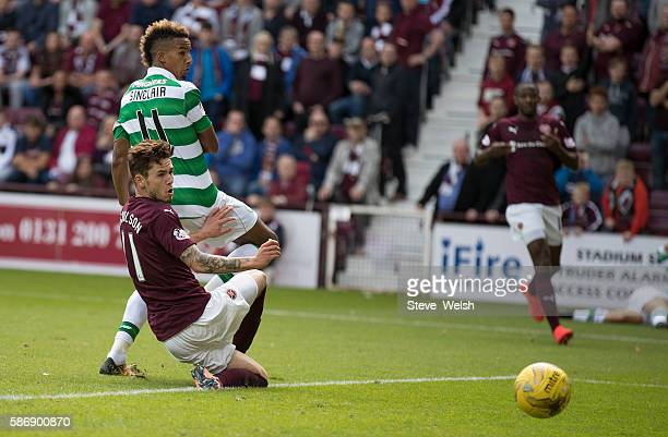 Scott Sinclair of Celtic scores the winning goal during the Ladbrokes Scottish Premiership match between Hearts and Celtic on August 7 2016 in...