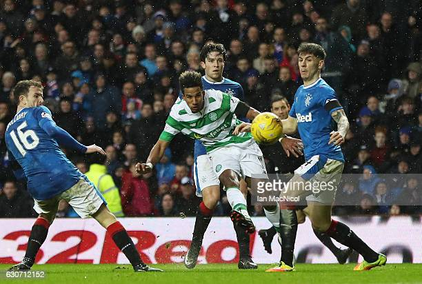 Scott Sinclair of Celtic shoots at goal during the Ladbrokes Scottish Premiership match between Rangers and Celtic at Ibrox Stadium on December 31...