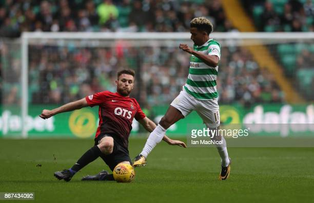 Scott Sinclair of Celtic vies with Stephen O'Donnell of Kilmarnock during the Ladbrokes Scottish Premiership match between Celtic and Kilmarnock at...