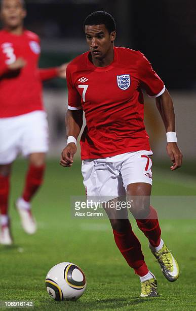 Scott Sinclair of England runs with the ball during the U21 international friendly match between Germany and England at the Brita Arena on November...