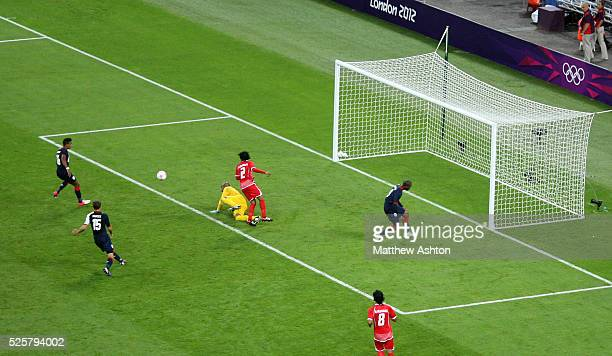 Scott Sinclair of Great Britain scores a goal to make it 21 as part of the 2012 London Olympic Summer Games at Wembley Stadium London England UK on...