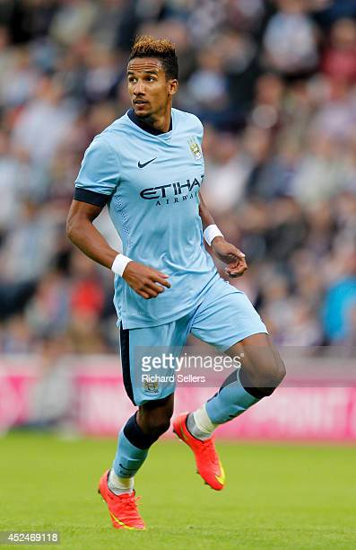 Scott Sinclair of Manchester City in action during the preseason friendly at Tynecastle Stadium on July 18 2014 in Edinburgh Scotland
