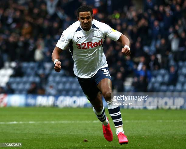 Scott Sinclair of Preston North End celebrates scoring his side's first goal during the Sky Bet Championship match between Preston North End and...