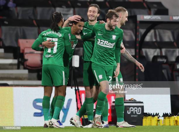Scott Sinclair of Preston North End celebrates with Daniel Johnson and team mates after scoring their team's second goal during the Sky Bet...