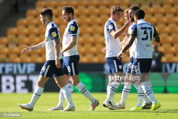 Scott Sinclair of Preston North End celebrates with his team after scoring his sides first goal during the Sky Bet Championship match between Norwich...