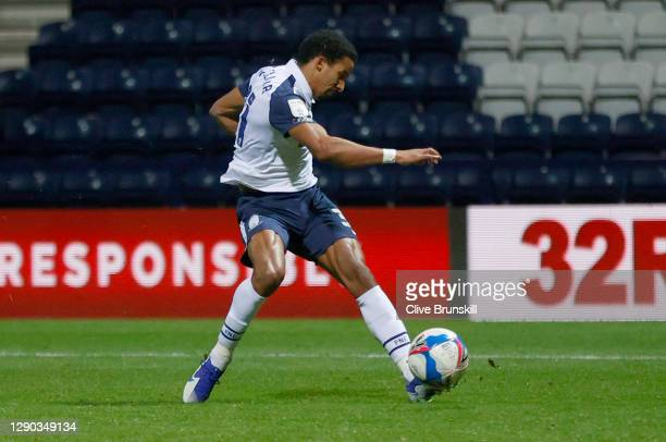Scott Sinclair of Preston North End scores their team's second goal during the Sky Bet Championship match between Preston North End and Middlesbrough...