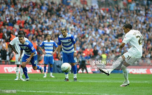 Scott Sinclair of Swansea scores his third goal from the penalty spot during the npower Championship Playoff Final between Reading and Swansea City...