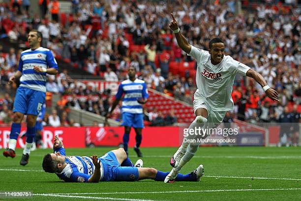 Scott Sinclair of Swansea scores the second goal of the game during the npower Championship Playoff Final between Reading and Swansea City at Wembley...