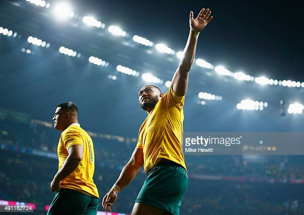 Scott Sio and Sekope Kepu of Australia celebrate victory during the 2015 Rugby World Cup Pool A match between England and Australia at Twickenham...