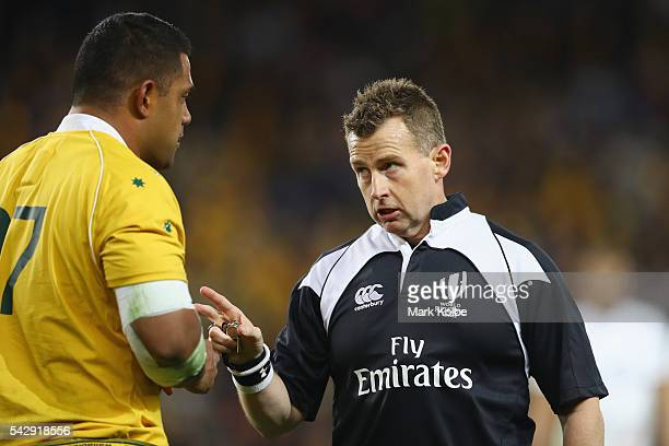 Scott Sio of the Wallabies is spoken to by referee Nigel Owens during the International Test match between the Australian Wallabies and England at...