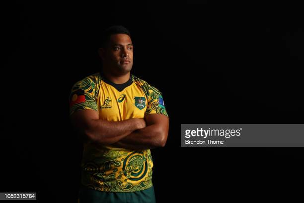 Scott Sio poses during a Rugby Australia Wallabies Indigenous Jersey Media Opportunity at Moore Park on October 17 2018 in Sydney Australia