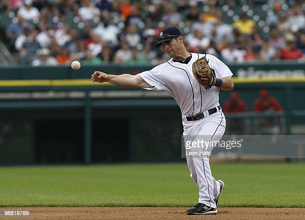 Scott Sizemore of the Detroit Tigers fields the ground ball in the fifth inning during the game against the Los Angeles Angeles of Anaheim on May 2...