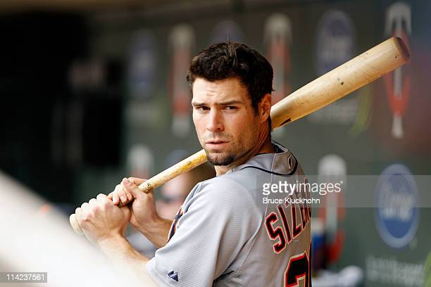 Scott Sizemore of the Detroit Tigers takes some swings in the dugout during the game against the Minnesota Twins on May11 2011 at Target Field in...