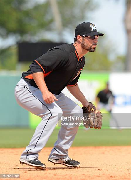 Scott Sizemore of the Miami Marlins fields during the Spring Training game against the Detroit Tigers at Joker Marchant Stadium on March 25 2015 in...