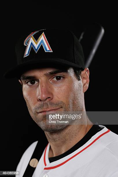 Scott Sizemore of the Miami Marlins poses for a photograph at Spring Training photo day at Roger Dean Stadium on February 25 2015 in Jupiter Florida