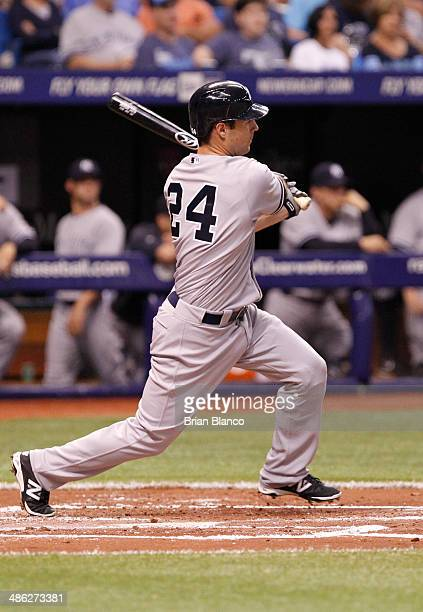Scott Sizemore of the New York Yankees bats against the Tampa Bay Rays on April 17 2014 at Tropicana Field in St Petersburg Florida