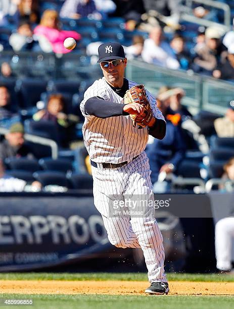 Scott Sizemore of the New York Yankees in action against the Chicago Cubs during the first game of a doubleheader at Yankee Stadium on April 16 2014...