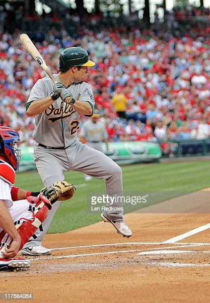 Scott Sizemore of the Oakland Athletics bats against the Philadelphia Phillies at Citizens Bank Park on June 24 2011 in Philadelphia Pennsylvania The...