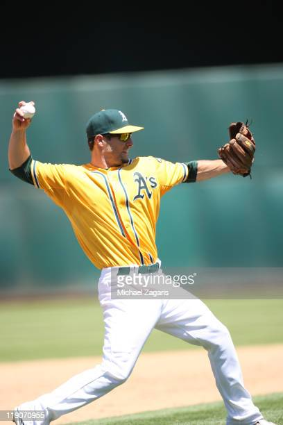 Scott Sizemore of the Oakland Athletics fields during the game against the Arizona Diamondbacks at the OaklandAlameda County Coliseum on July 3 2011...