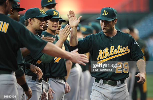 Scott Sizemore of the Oakland Athletics is introduced before the game against the Los Angeles Angels of Anaheim at Angel Stadium of Anaheim on April...