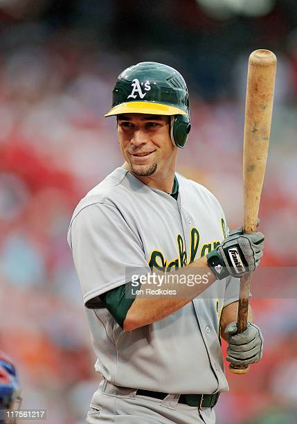 Scott Sizemore of the Oakland Athletics looks on against the Philadelphia Phillies the Phillies defeated the Athletics 10 at Citizens Bank Park on...