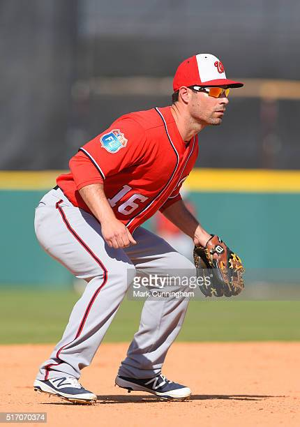 Scott Sizemore of the Washington Nationals fields during the Spring Training game against the Detroit Tigers at Joker Marchant Stadium on March 9...