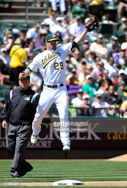 Scott Sizemore the Oakland Athletics in action against the Toronto Blue Jays during an MLB baseball game August 21 2011 at the Oco Coliseum in...