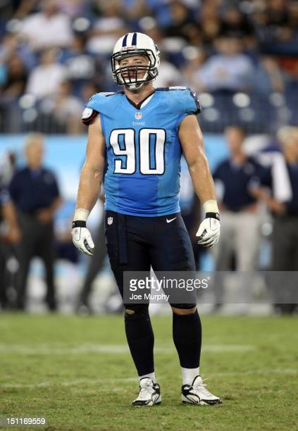 Scott Solomon of the Tennessee Titans looks to the sideline against the New Orleans Saints at LP Field on August 30 2012 in Nashville Tennessee
