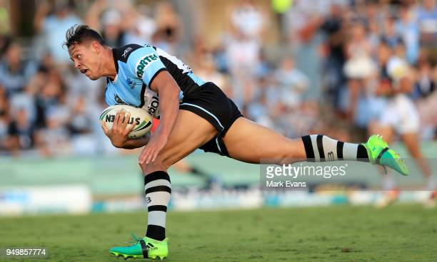 Scott Sorensen of the Sharks scores a try during the round seven NRL match between the Cronulla Sharks and the Penrith Panthers at Southern Cross...