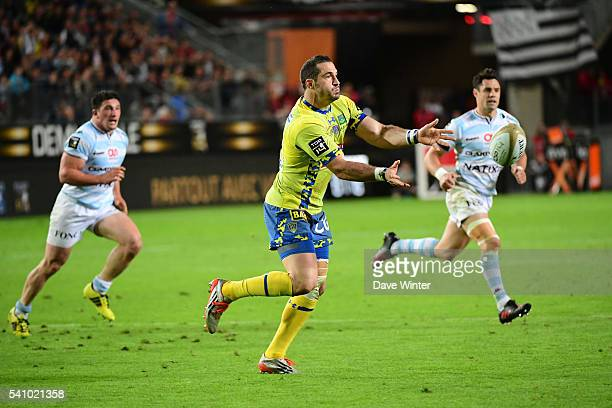 Scott Spedding of Clermont during the Rugby Top 14 League semi final match between Racing 92 and Clermont Auvergne at Roazhon Park on June 17 2016 in...