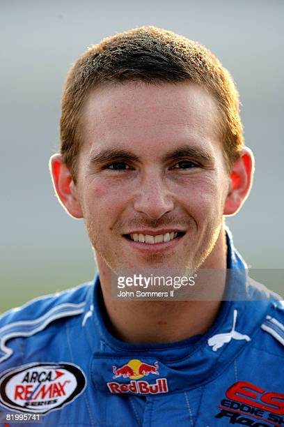 Scott Speed driver of the Red Bull Toyota in the pits before the Kentucky 150 Arca RE/MAX Series race at the Kentucky Speedway on July 18 2008 in...