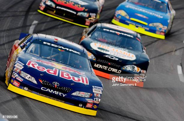 Scott Speed driver of the Red Bull Toyota on the track during the Kentucky 150 Arca RE/MAX Series race at the Kentucky Speedway on July 18 2008 in...