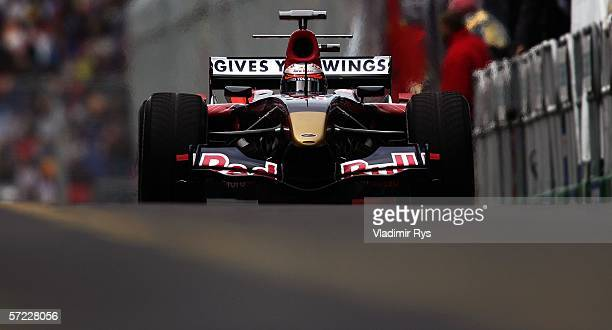 Scott Speed of San Jose USA driving a Scuderia Toro RossoCosworth exits the pits during practice prior to qualifying for the Australian Formula One...