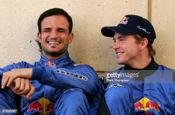 Scott Speed of the USA and Vitantonio Liuzzi of Italy and team Scuderia Toro Rosso in the paddock prior to the Bahrain Formula One Grand Prix at the...