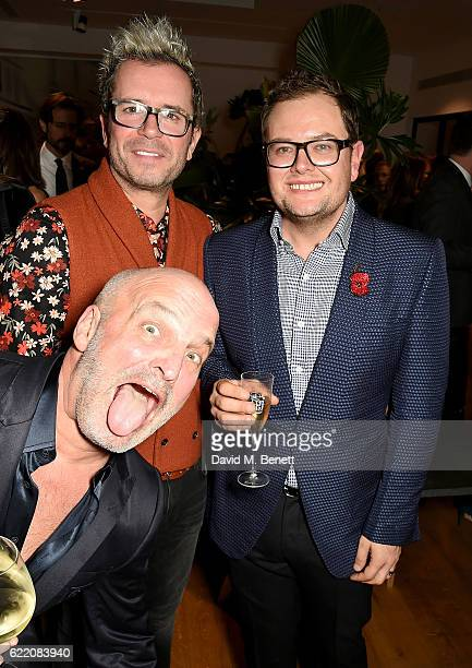 Scott Spiro, Paul Drayton and Alan Carr attend the anniversary party for Kelly Hoppen MBE celebrating 40 years as an Interior Designer, at Alva...
