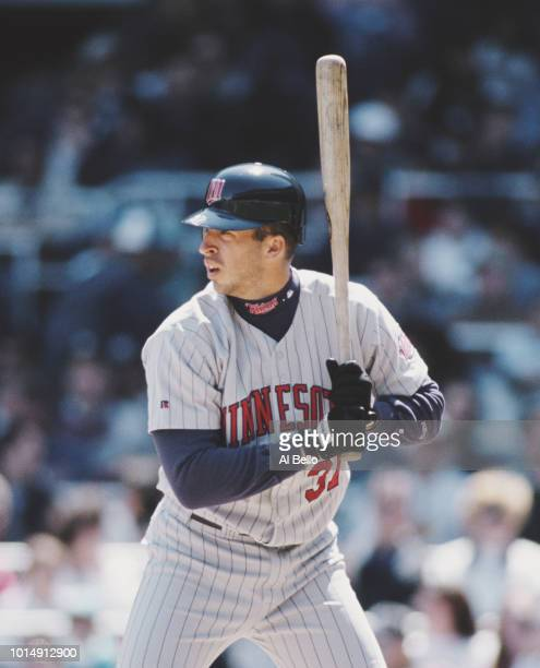 Scott Stahoviak First Baseman and Third Baseman for the Minnesota Twins at bat during the Major League Baseball American League East game against the...