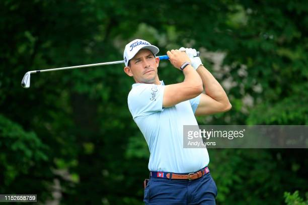 Scott Stallings hit his tee shot on the 14th hole during the first round of The Memorial Tournament Presented by Nationwide at Muirfield Village Golf...