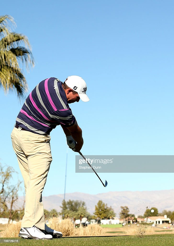 Scott Stallings hits his tee shot on the ninth hole during the third round of the Humana Challenge In Partnership With The Clinton Foundation on the Nicklaus Private Course at PGA West on January 19, 2013 in La Quinta, California.