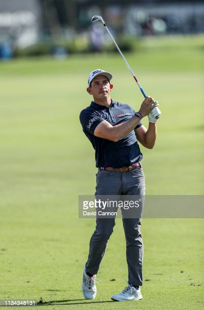 Scott Stallings of the United States plays his second shot on the par 4 first hole during the first round of the 2019 Arnold Palmer Invitational...