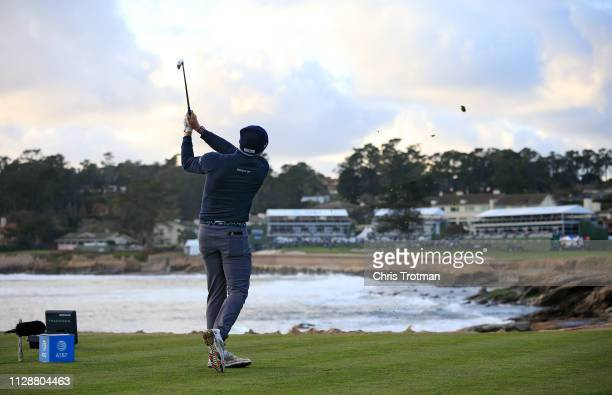 Scott Stallings of the United States plays his shot from the 18th tee during the final round of the ATT Pebble Beach ProAm at Pebble Beach Golf Links...