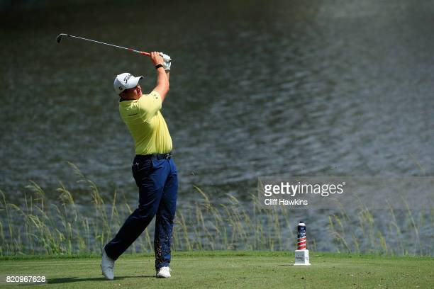 Scott Stallings of the United States plays his shot from the eighth tee during the third round of the Barbasol Championship at the Robert Trent Jones...