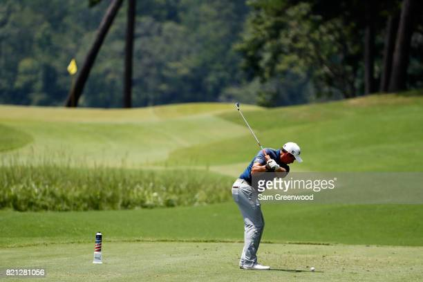Scott Stallings of the United States plays his shot from the eighth tee during the final round of the Barbasol Championship at the Robert Trent Jones...