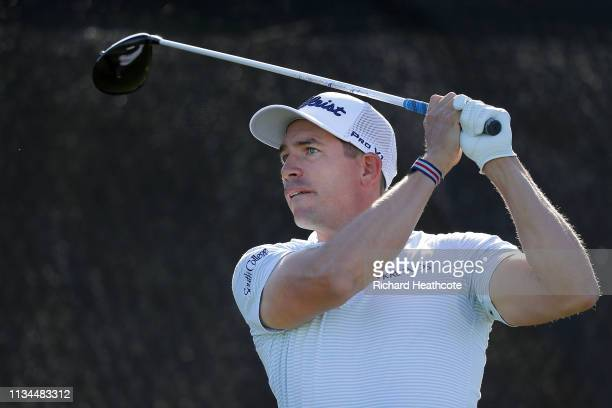 Scott Stallings of the United States plays his shot from the fourth tee during the second round of the Arnold Palmer Invitational Presented by...