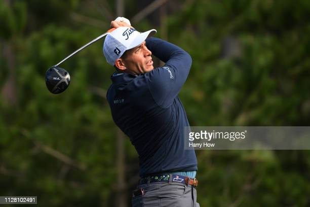 Scott Stallings of the United States plays his shot from the ninth tee during the first round of the ATT Pebble Beach ProAm at Spyglass Hill Golf...