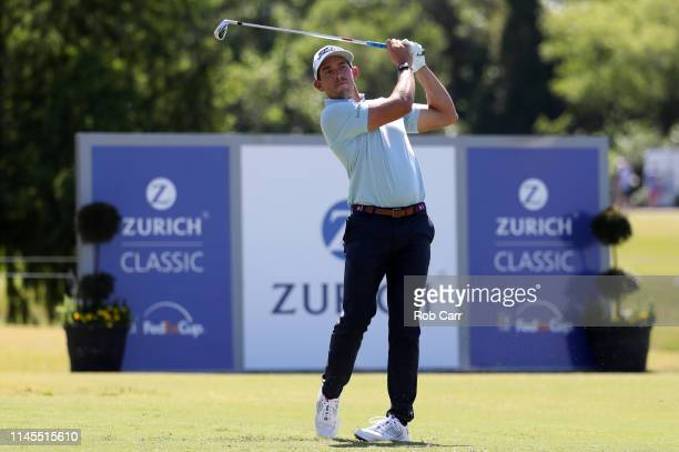 Scott Stallings of the United States plays his shot from the ninth tee during the third round of the Zurich Classic at TPC Louisiana on April 27 2019...