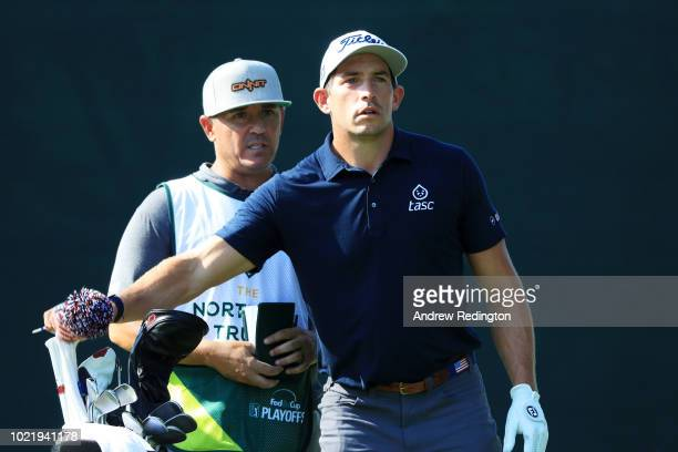 Scott Stallings of the United States prepares to play from the firs ttee during the first round of The Northern Trust on August 23 2018 at the...