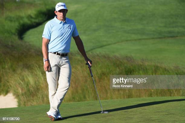 Scott Stallings of the United States waits on the 11th green during the first round of the 2018 US Open at Shinnecock Hills Golf Club on June 14 2018...